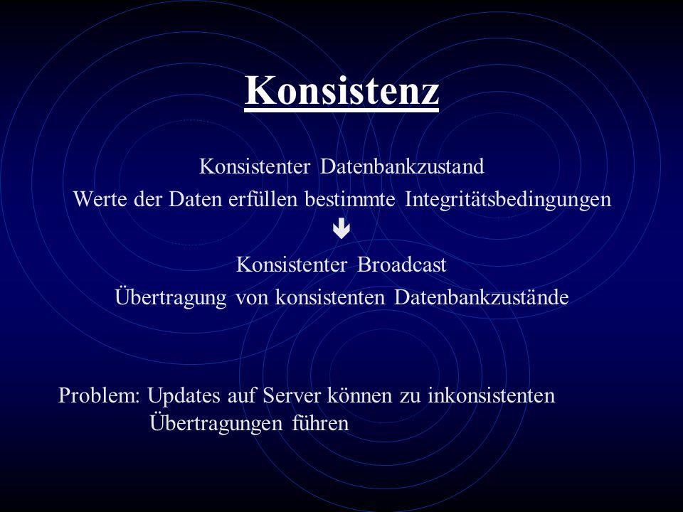 Konsistenz Konsistenter Datenbankzustand Werte der Daten erfüllen bestimmte Integritätsbedingungen Konsistenter Broadcast Übertragung von konsistenten