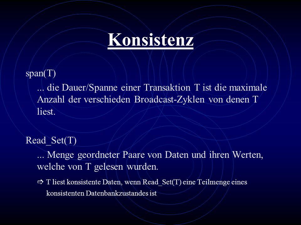 Konsistenz span(T)... die Dauer/Spanne einer Transaktion T ist die maximale Anzahl der verschieden Broadcast-Zyklen von denen T liest. Read_Set(T)...