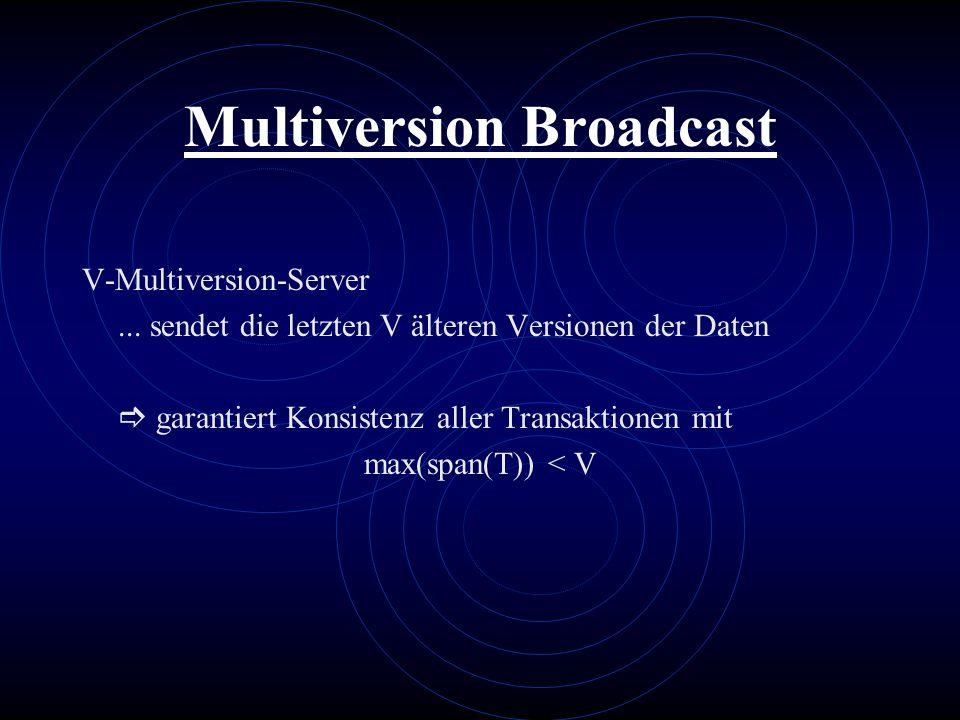 Multiversion Broadcast V-Multiversion-Server... sendet die letzten V älteren Versionen der Daten garantiert Konsistenz aller Transaktionen mit max(spa