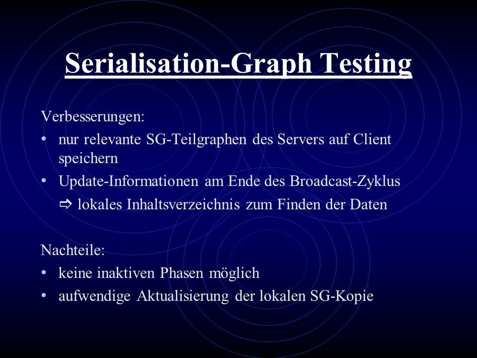 Serialisation-Graph Testing Verbesserungen: nur relevante SG-Teilgraphen des Servers auf Client speichern Update-Informationen am Ende des Broadcast-Z