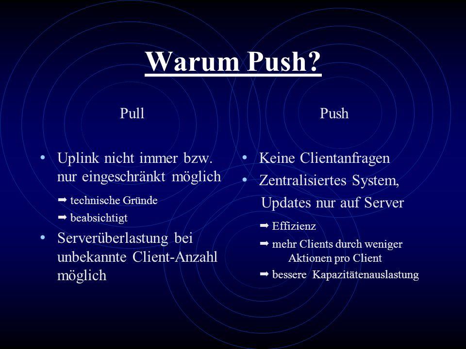 Warum Push? Pull Uplink nicht immer bzw. nur eingeschränkt möglich technische Gründe beabsichtigt Serverüberlastung bei unbekannte Client-Anzahl mögli
