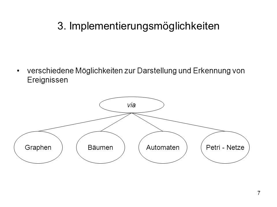 7 3. Implementierungsmöglichkeiten verschiedene Möglichkeiten zur Darstellung und Erkennung von Ereignissen GraphenBäumenAutomatenPetri - Netze via
