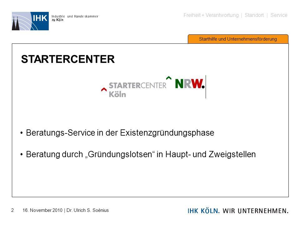 Freiheit + Verantwortung | Standort | Service Starthilfe und Unternehmensförderung 2 16. November 2010 | Dr. Ulrich S. Soénius STARTERCENTER Beratungs