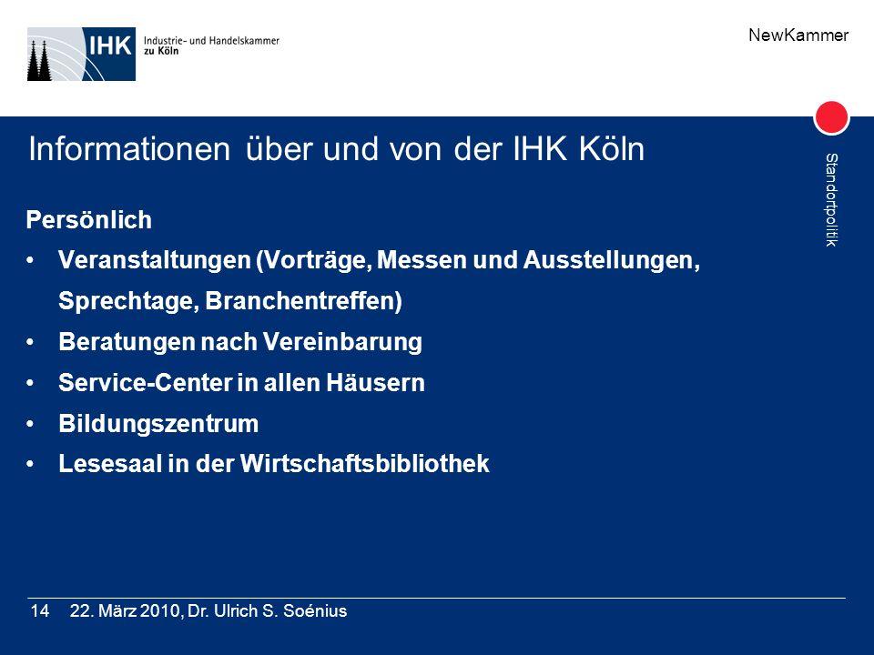 NewKammer Standortpolitik 22. März 2010, Dr. Ulrich S. Soénius14 Informationen über und von der IHK Köln Persönlich Veranstaltungen (Vorträge, Messen