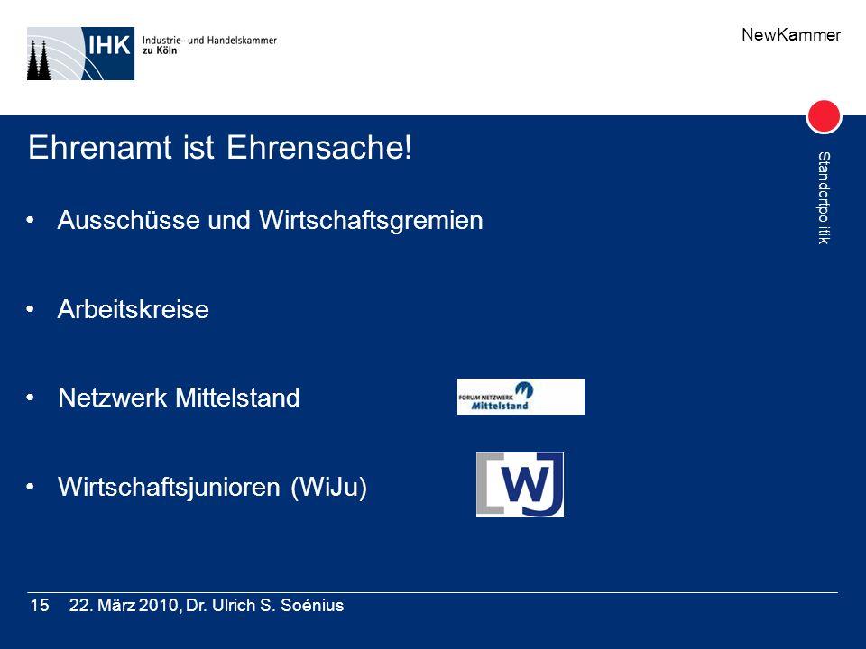 NewKammer Standortpolitik 22. März 2010, Dr. Ulrich S. Soénius15 Ehrenamt ist Ehrensache! Ausschüsse und Wirtschaftsgremien Arbeitskreise Netzwerk Mit