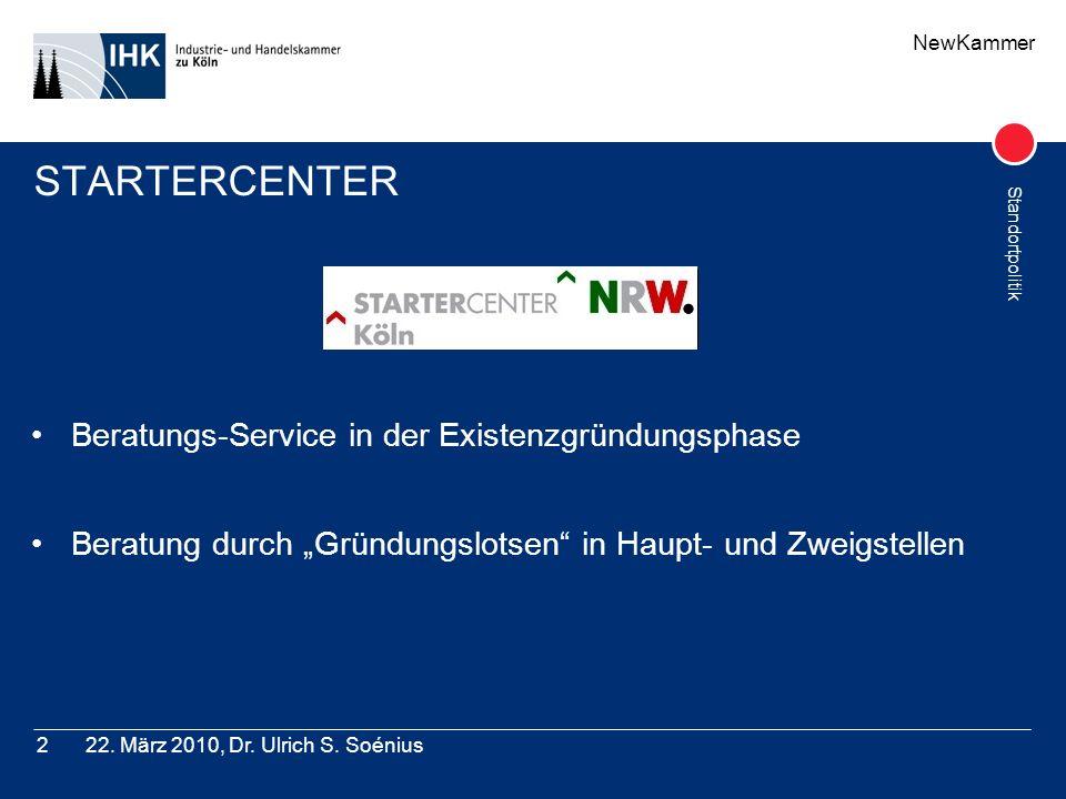 NewKammer Standortpolitik 22. März 2010, Dr. Ulrich S. Soénius2 STARTERCENTER Beratungs-Service in der Existenzgründungsphase Beratung durch Gründungs