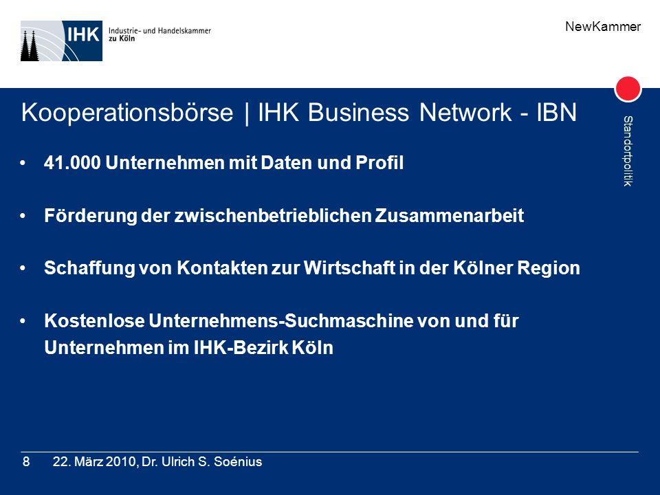 NewKammer Standortpolitik 22. März 2010, Dr. Ulrich S. Soénius8 Kooperationsbörse | IHK Business Network - IBN 41.000 Unternehmen mit Daten und Profil