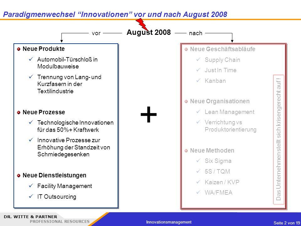 DR. WITTE & PARTNER PROFESSIONAL RESOURCES Seite 2 von 19 Innovationsmanagement Paradigmenwechsel Innovationen vor und nach August 2008 Neue Produkte