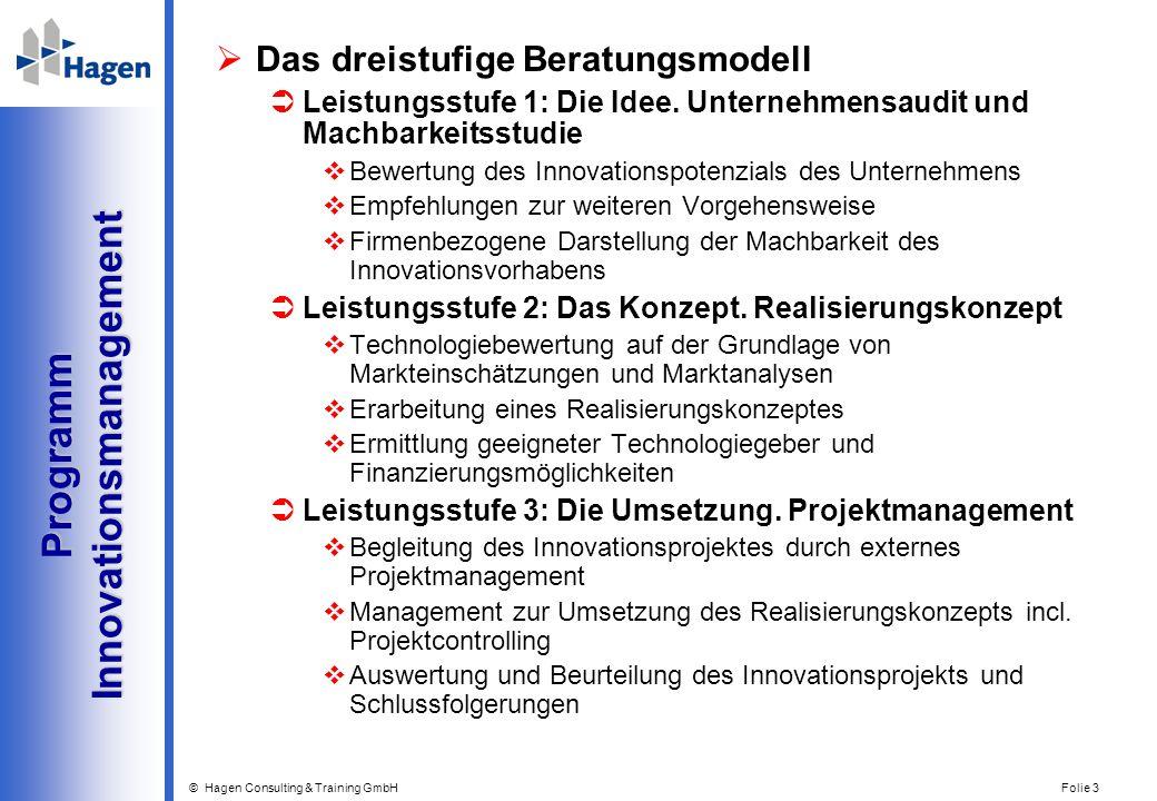 © Hagen Consulting & Training GmbH Folie 3 Programm Innovationsmanagement Programm Innovationsmanagement Das dreistufige Beratungsmodell Leistungsstuf