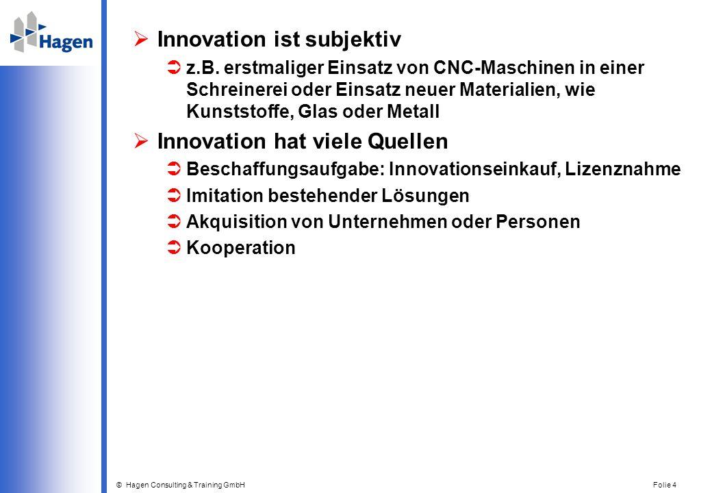 © Hagen Consulting & Training GmbH Folie 4 Innovation ist subjektiv z.B. erstmaliger Einsatz von CNC-Maschinen in einer Schreinerei oder Einsatz neuer