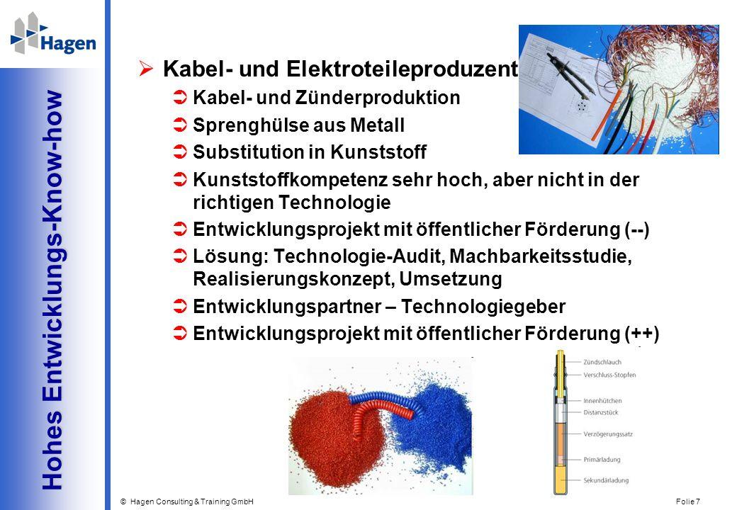 © Hagen Consulting & Training GmbH Folie 7 Hohes Entwicklungs-Know-how Hohes Entwicklungs-Know-how Kabel- und Elektroteileproduzent Kabel- und Zünderp