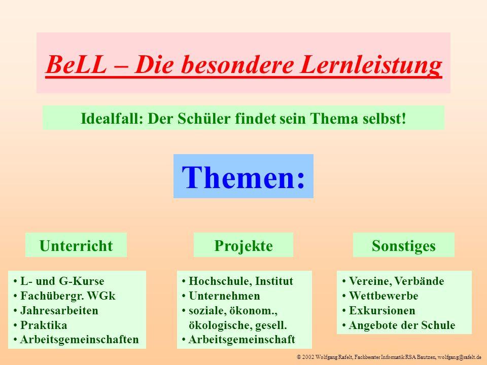 © 2002 Wolfgang Rafelt, Fachberater Informatik RSA Bautzen, wolfgang@rafelt.de BeLL – Die besondere Lernleistung Themen: Idealfall: Der Schüler findet