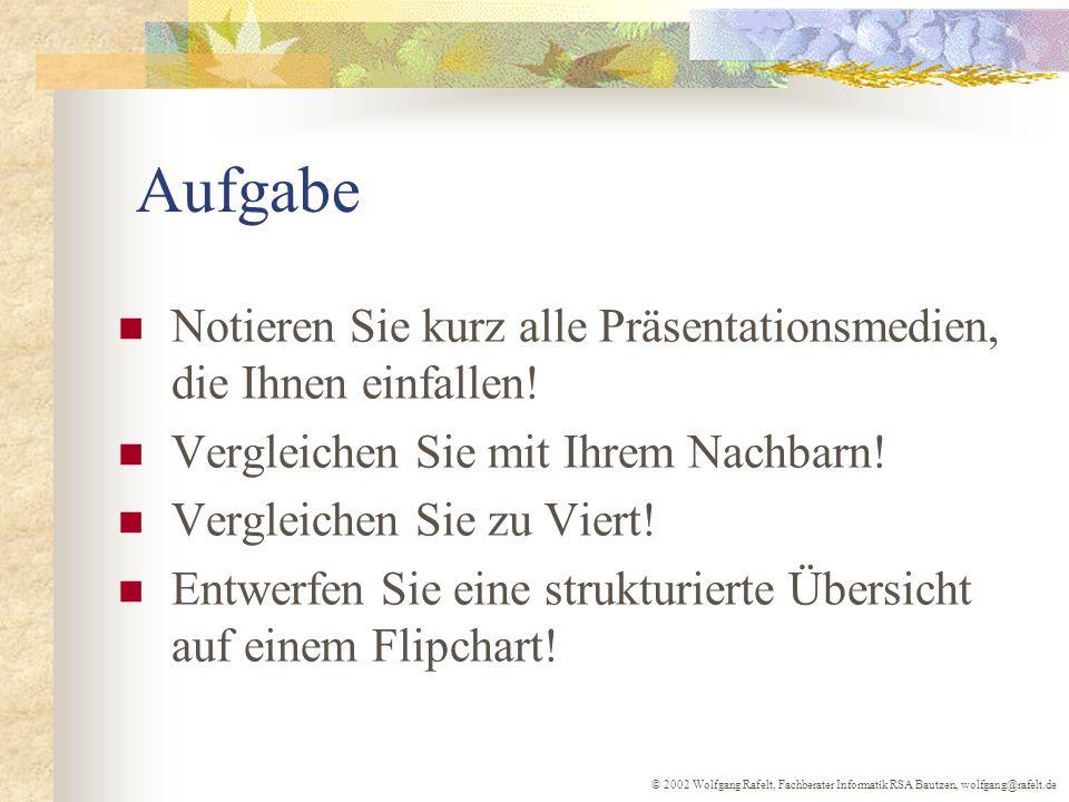 © 2002 Wolfgang Rafelt, Fachberater Informatik RSA Bautzen, wolfgang@rafelt.de Aufgabe Notieren Sie kurz alle Präsentationsmedien, die Ihnen einfallen