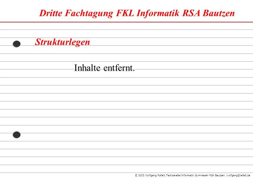 Dritte Fachtagung FKL Informatik RSA Bautzen © 2003 Wolfgang Rafelt, Fachberater Informatik Gymnasien RSA Bautzen, wolfgang@rafelt.de Strukturlegen In