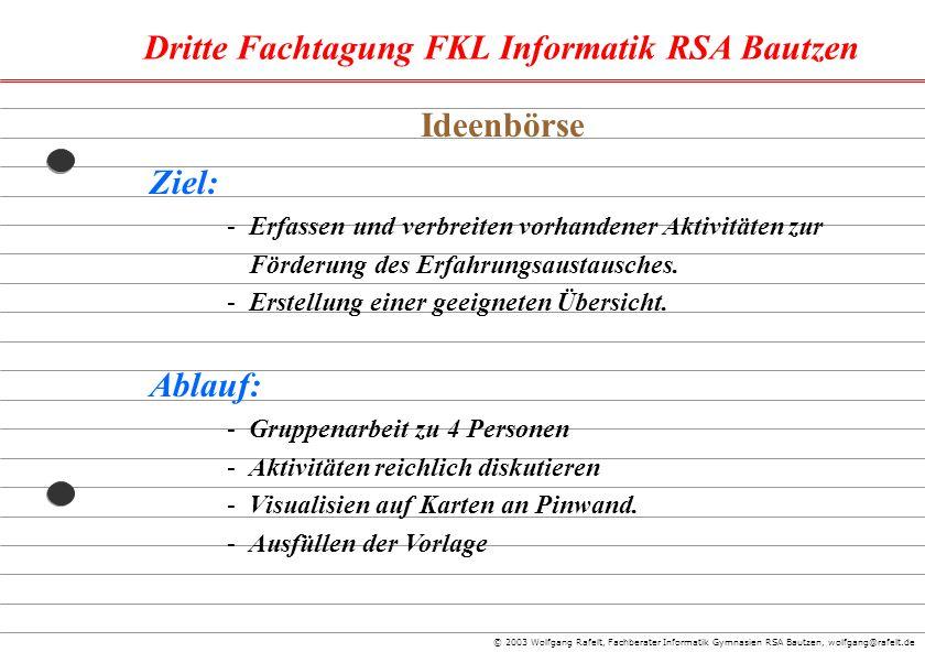 Dritte Fachtagung FKL Informatik RSA Bautzen © 2003 Wolfgang Rafelt, Fachberater Informatik Gymnasien RSA Bautzen, wolfgang@rafelt.de Ziel: -Erfassen
