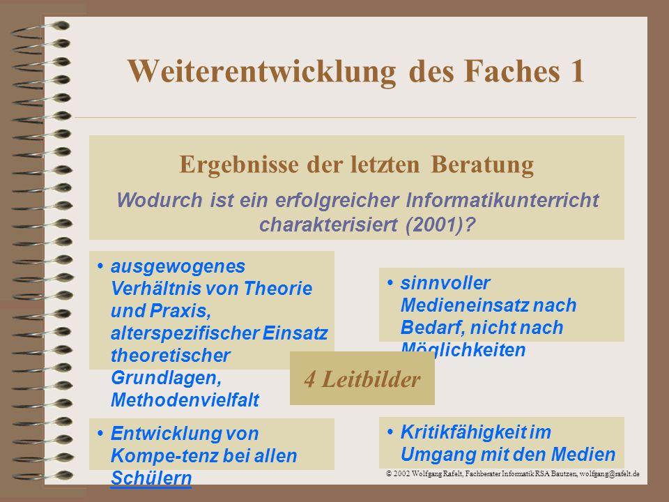 © 2002 Wolfgang Rafelt, Fachberater Informatik RSA Bautzen, wolfgang@rafelt.de Weiterentwicklung des Faches 2 Ziel der heutigen Beratung Woran erkennt man erfolgreichen/guten Informatikunterricht (2002).