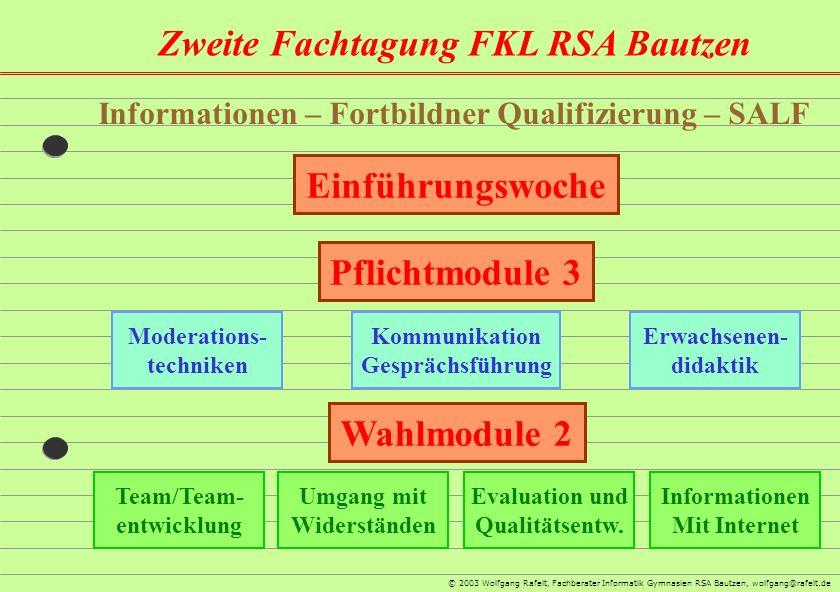 Zweite Fachtagung FKL RSA Bautzen © 2003 Wolfgang Rafelt, Fachberater Informatik Gymnasien RSA Bautzen, wolfgang@rafelt.de Informationen – Fortbildner