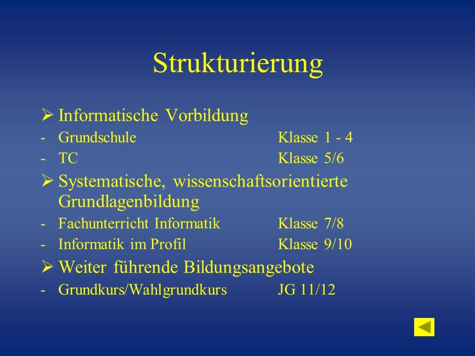 Strukturierung Informatische Vorbildung -Grundschule Klasse 1 - 4 -TCKlasse 5/6 Systematische, wissenschaftsorientierte Grundlagenbildung -Fachunterri