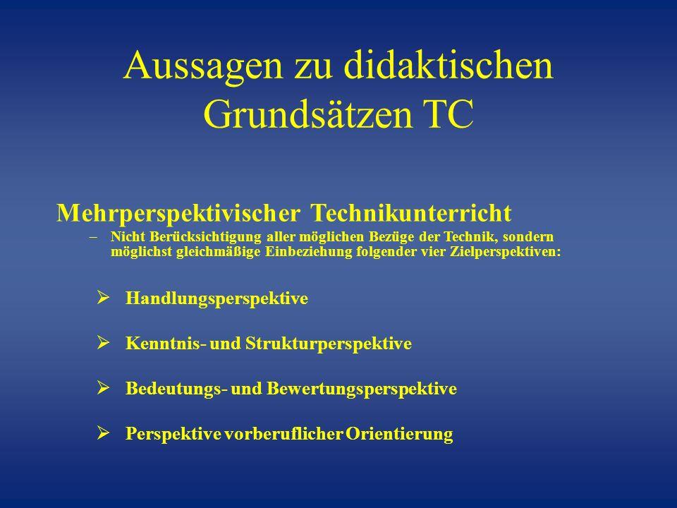 Aussagen zu didaktischen Grundsätzen TC Mehrperspektivischer Technikunterricht –Nicht Berücksichtigung aller möglichen Bezüge der Technik, sondern mög
