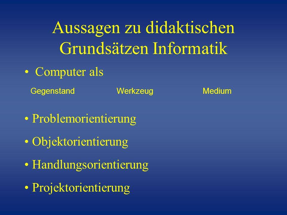 Aussagen zu didaktischen Grundsätzen Informatik Computer als GegenstandWerkzeug Medium Problemorientierung Objektorientierung Handlungsorientierung Pr