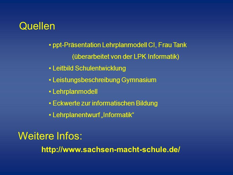 Quellen ppt-Präsentation Lehrplanmodell CI, Frau Tank (überarbeitet von der LPK Informatik) Leitbild Schulentwicklung Leistungsbeschreibung Gymnasium