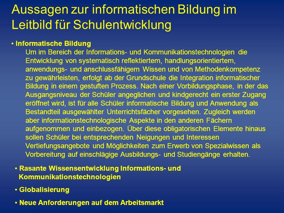 Informatische Bildung Um im Bereich der Informations- und Kommunikationstechnologien die Entwicklung von systematisch reflektiertem, handlungsorientie