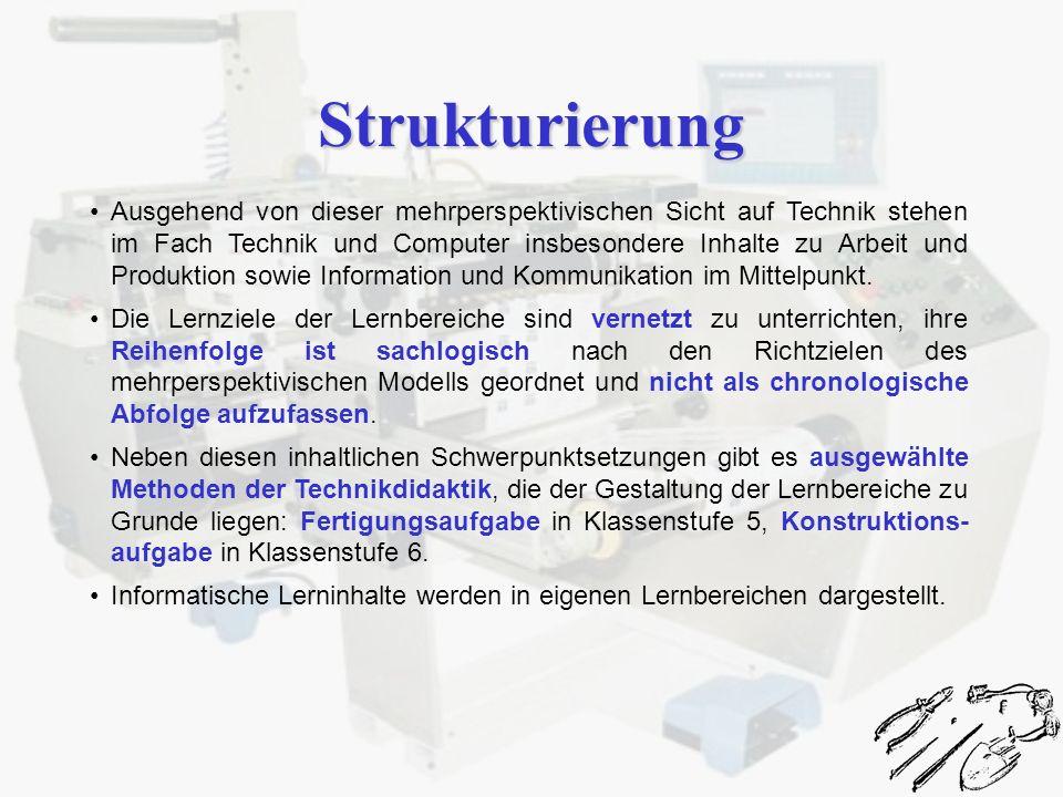 Strukturierung Ausgehend von dieser mehrperspektivischen Sicht auf Technik stehen im Fach Technik und Computer insbesondere Inhalte zu Arbeit und Prod