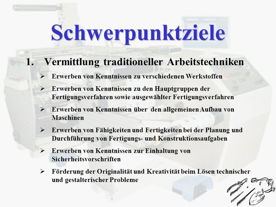 Schwerpunktziele 1.Vermittlung traditioneller Arbeitstechniken Erwerben von Kenntnissen zu verschiedenen Werkstoffen Erwerben von Kenntnissen zu den H