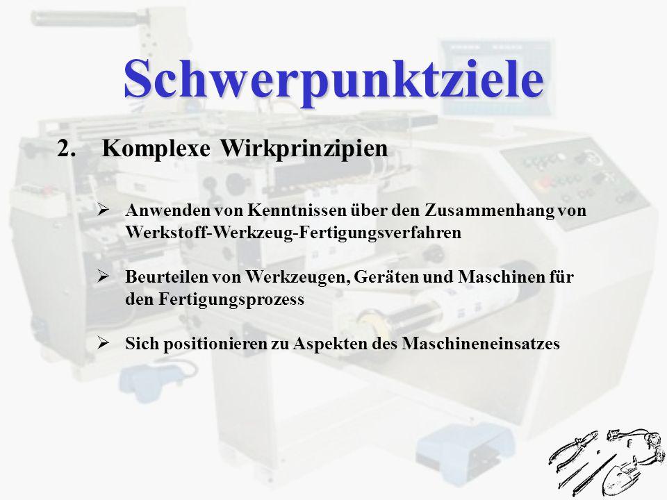 2.Komplexe Wirkprinzipien Anwenden von Kenntnissen über den Zusammenhang von Werkstoff-Werkzeug-Fertigungsverfahren Beurteilen von Werkzeugen, Geräten