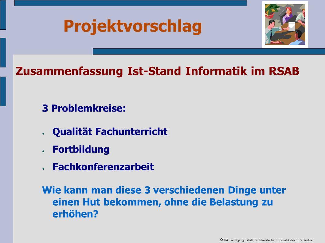 Projektvorschlag 2004 Wolfgang Rafelt, Fachberater für Informatik des RSA Bautzen Zusammenfassung Ist-Stand Informatik im RSAB 3 Problemkreise: Qualität Fachunterricht Fortbildung Fachkonferenzarbeit Wie kann man diese 3 verschiedenen Dinge unter einen Hut bekommen, ohne die Belastung zu erhöhen?