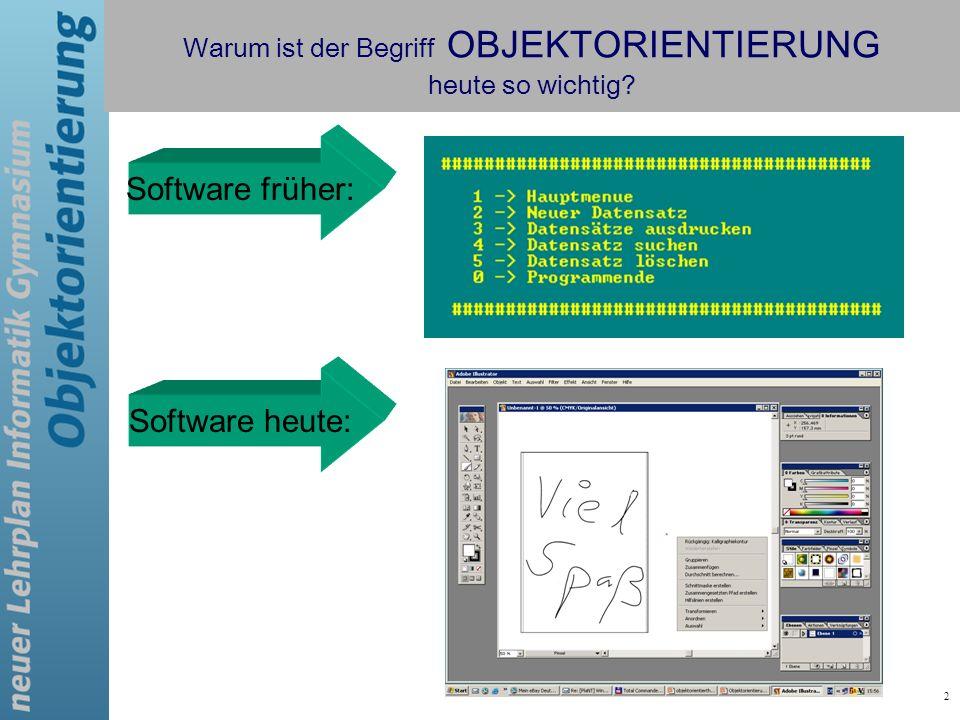 2 Software früher: Software heute: Warum ist der Begriff OBJEKTORIENTIERUNG heute so wichtig?