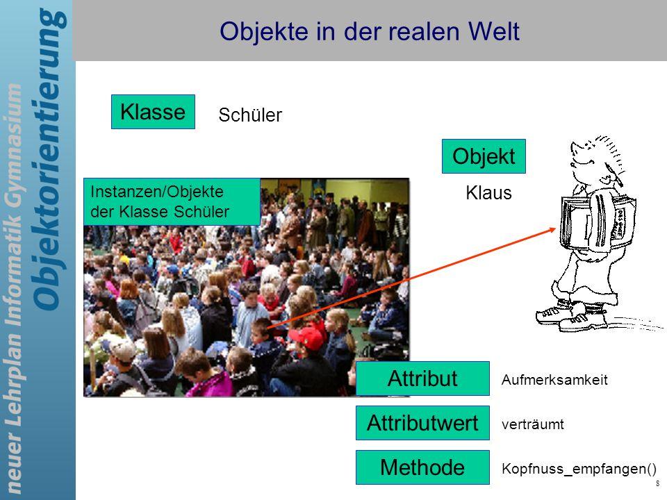 8 Klasse Schüler Objekt Klaus Instanzen/Objekte der Klasse Schüler Attribut Aufmerksamkeit Attributwert verträumt Methode Kopfnuss_empfangen() Objekte