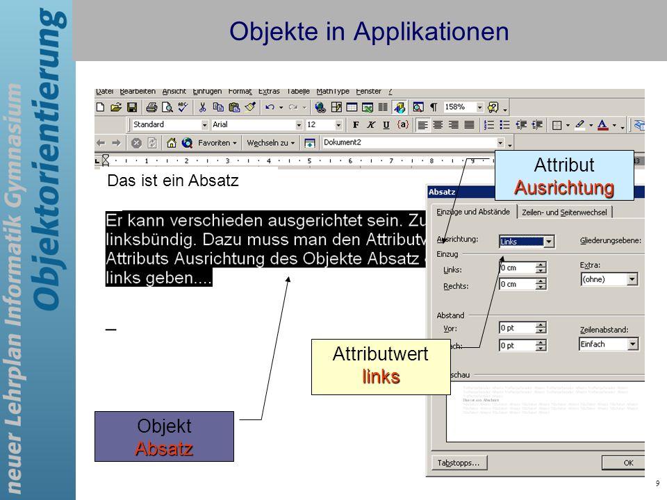 9 Das ist ein Absatz Objekte in Applikationen AttributAusrichtung Attributwertlinks Absatz Objekt Absatz