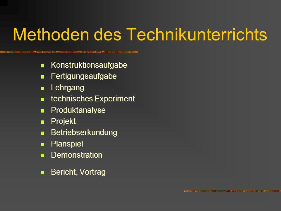 Methoden des Technikunterrichts Konstruktionsaufgabe Fertigungsaufgabe Lehrgang technisches Experiment Produktanalyse Projekt Betriebserkundung Planspiel Demonstration Bericht, Vortrag