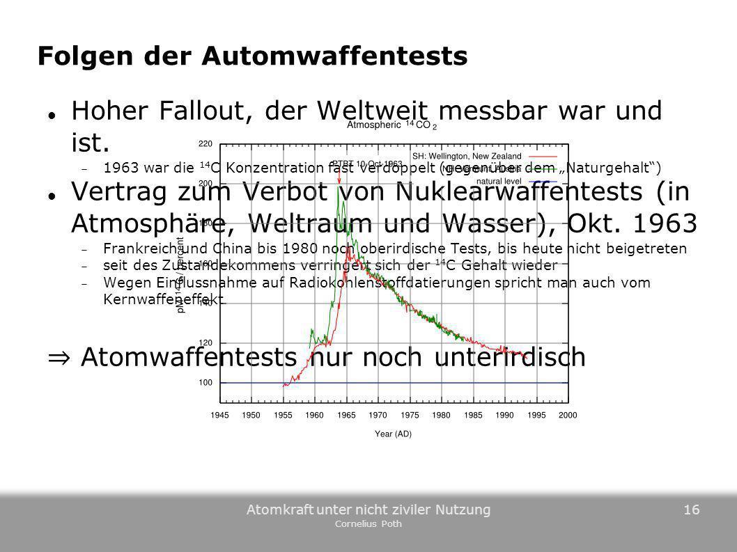 Atomkraft unter nicht ziviler Nutzung Cornelius Poth 16 Folgen der Automwaffentests Hoher Fallout, der Weltweit messbar war und ist. 1963 war die 14 C