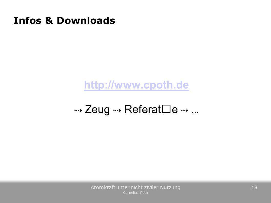 Atomkraft unter nicht ziviler Nutzung Cornelius Poth 18 Infos & Downloads http://www.cpoth.de Zeug Referate...