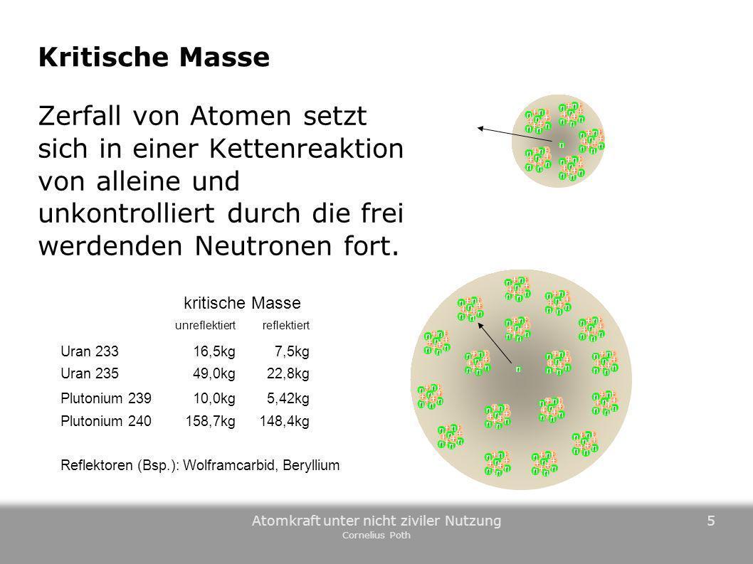 Atomkraft unter nicht ziviler Nutzung Cornelius Poth 5 Kritische Masse Zerfall von Atomen setzt sich in einer Kettenreaktion von alleine und unkontrol