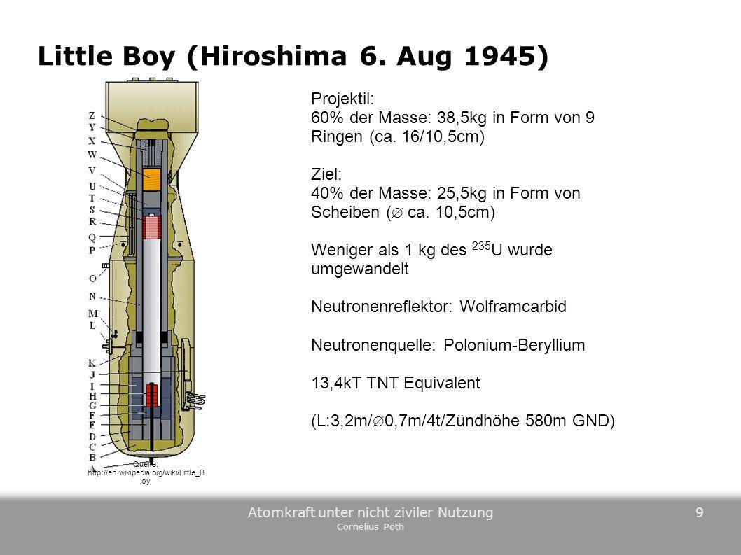 Atomkraft unter nicht ziviler Nutzung Cornelius Poth 9 Quelle: http://en.wikipedia.org/wiki/Little_B oy Little Boy (Hiroshima 6. Aug 1945) Projektil: