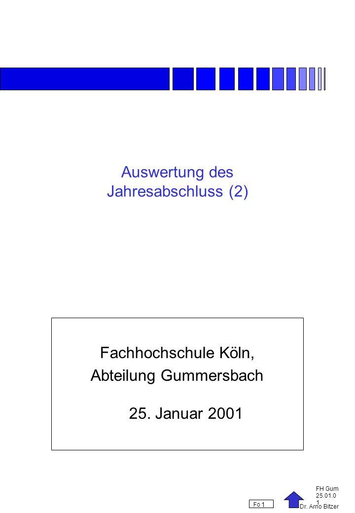 Dr. Arno Bitzer FH Gum 25.01.0 1 Fo 1 Auswertung des Jahresabschluss (2) Fachhochschule Köln, Abteilung Gummersbach 25. Januar 2001