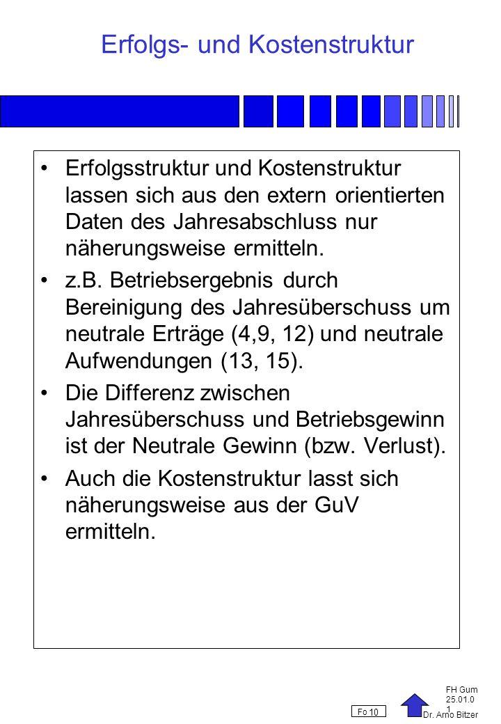 Dr. Arno Bitzer FH Gum 25.01.0 1 Fo 10 Erfolgs- und Kostenstruktur Erfolgsstruktur und Kostenstruktur lassen sich aus den extern orientierten Daten de