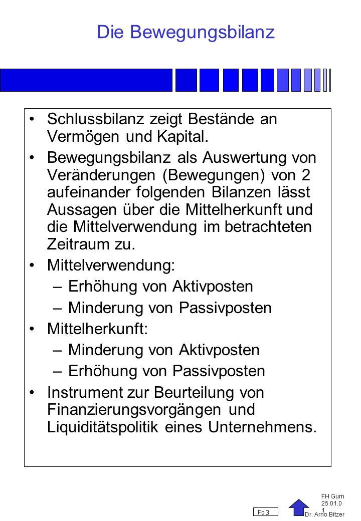 Dr. Arno Bitzer FH Gum 25.01.0 1 Fo 3 Die Bewegungsbilanz Schlussbilanz zeigt Bestände an Vermögen und Kapital. Bewegungsbilanz als Auswertung von Ver