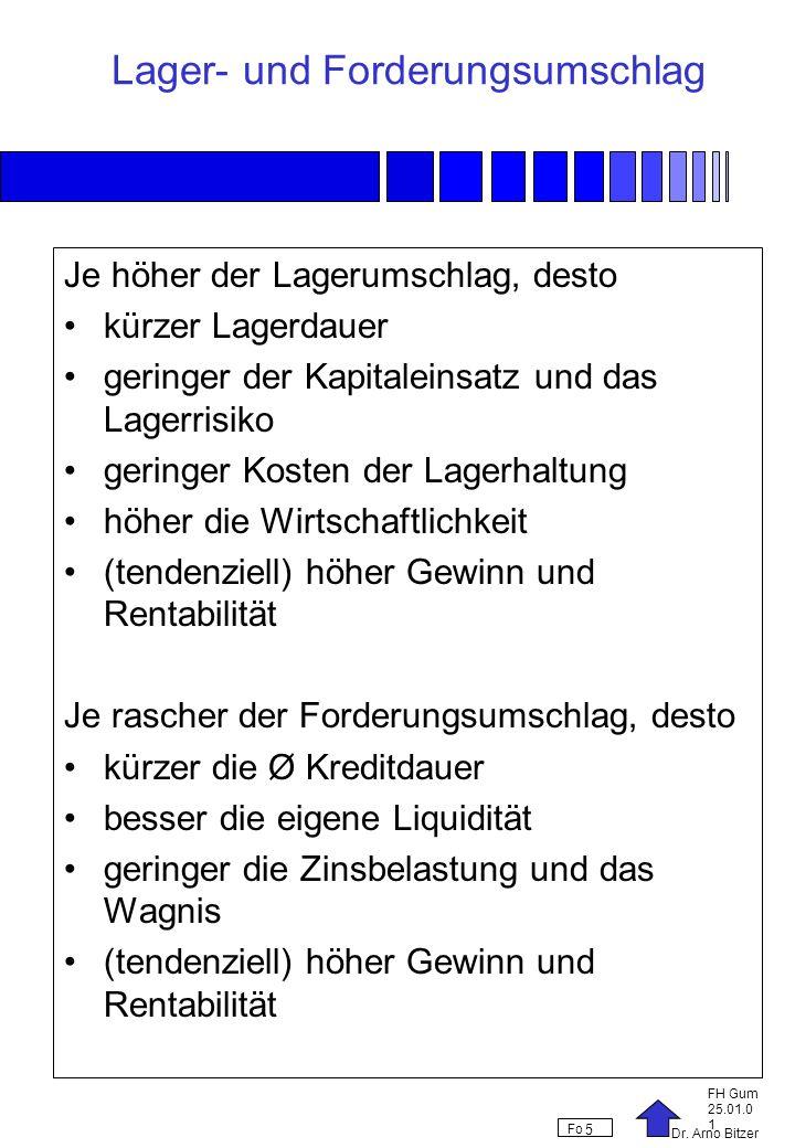 Dr. Arno Bitzer FH Gum 25.01.0 1 Fo 5 Lager- und Forderungsumschlag Je höher der Lagerumschlag, desto kürzer Lagerdauer geringer der Kapitaleinsatz un