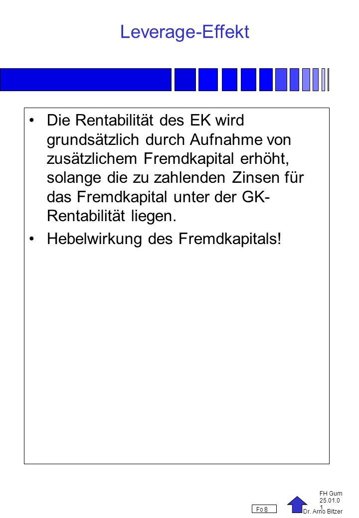 Dr. Arno Bitzer FH Gum 25.01.0 1 Fo 8 Leverage-Effekt Die Rentabilität des EK wird grundsätzlich durch Aufnahme von zusätzlichem Fremdkapital erhöht,