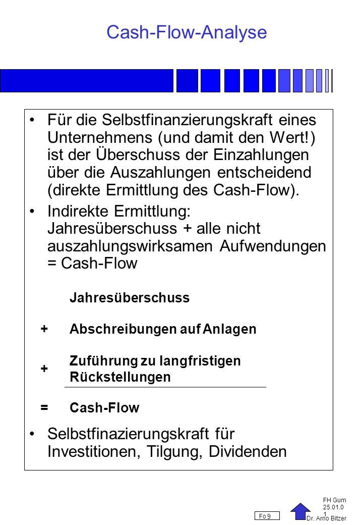 Dr. Arno Bitzer FH Gum 25.01.0 1 Fo 9 Cash-Flow-Analyse Für die Selbstfinanzierungskraft eines Unternehmens (und damit den Wert!) ist der Überschuss d