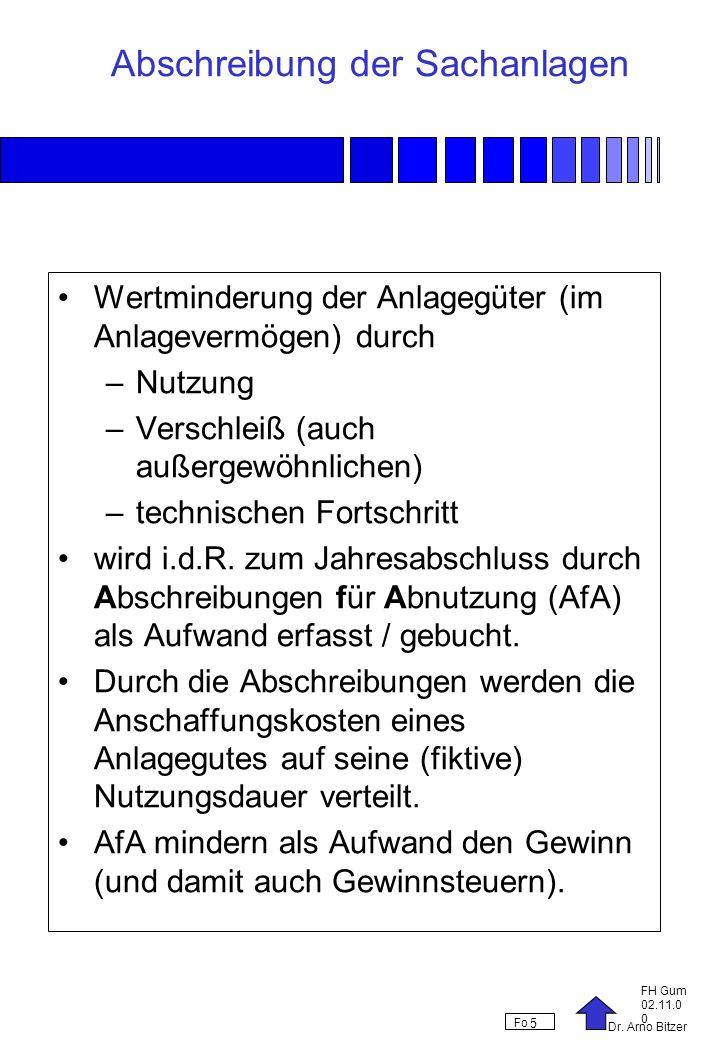 Dr. Arno Bitzer FH Gum 02.11.0 0 Fo 5 Abschreibung der Sachanlagen Wertminderung der Anlagegüter (im Anlagevermögen) durch –Nutzung –Verschleiß (auch