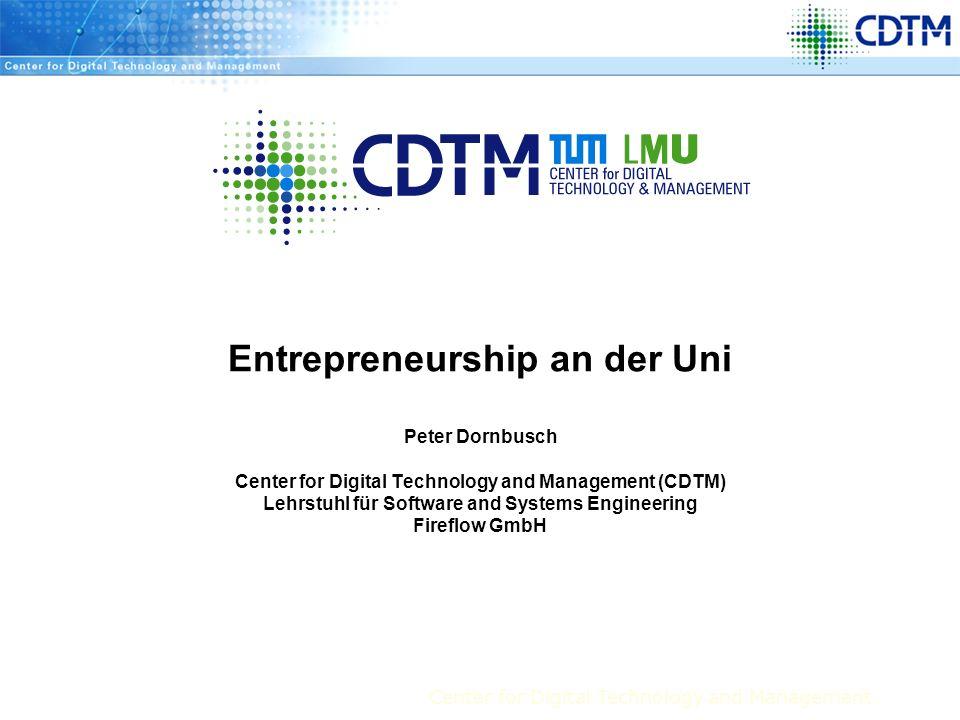 Center for Digital Technology and Management 2(C) CDTM 2004 Agenda Einleitung Situation und Problem Angebote Die wichtigsten Formate und wie man davon als (potentieller) Gründer profitieren kann Gesamtkonzept Förderprogramme Zusammenfassung