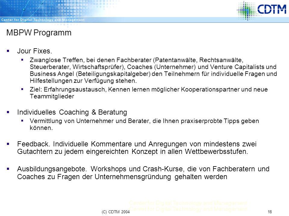 Center for Digital Technology and Management 18(C) CDTM 2004 MBPW Programm Jour Fixes. Zwanglose Treffen, bei denen Fachberater (Patentanwälte, Rechts