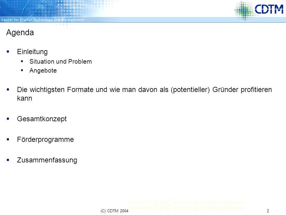 Center for Digital Technology and Management 23(C) CDTM 2004 Förderprogramme und sonstiges Bayern-Patent Patentschutz kann für Finanzierung hilfreich/wichtig sein 2 Arten von Erfindungen Diensterfindung Freie Erfindung Alle Erfinder an der TUM sind meldepflichtig (nach § 5 ArbEG) Bayern-Patent entscheidet über Patentart Wichtig: Inhalt des Patents darf noch nicht veröffentlicht sein.