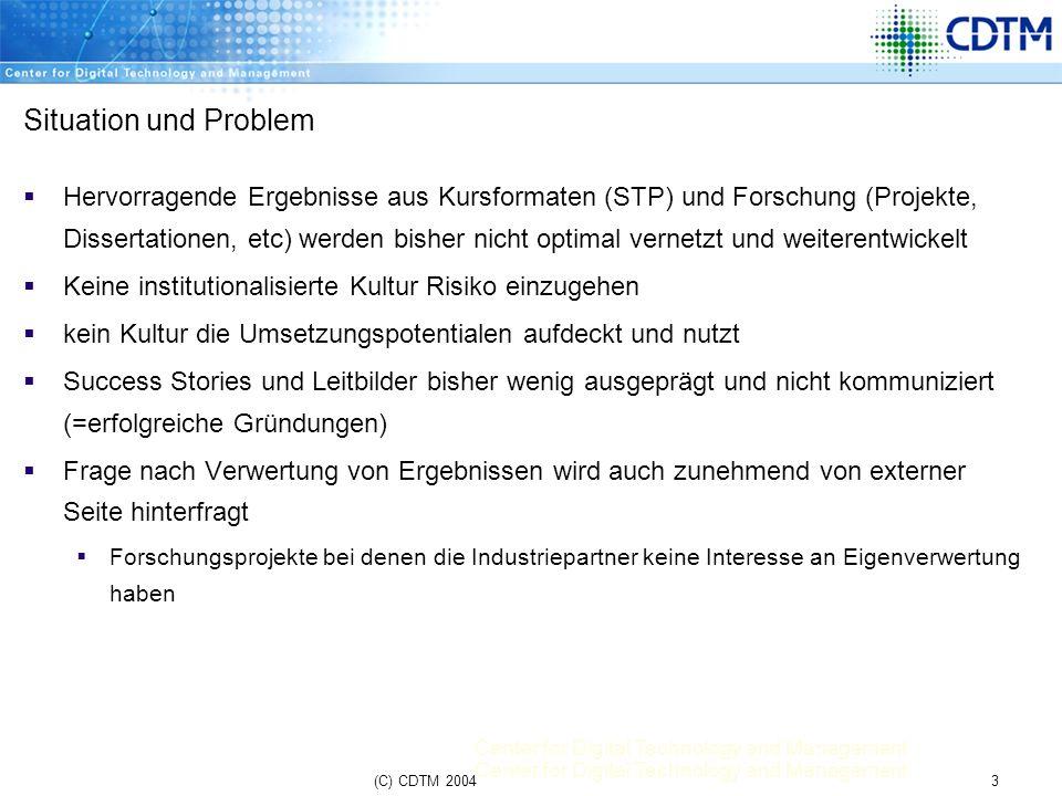 Center for Digital Technology and Management 3(C) CDTM 2004 Situation und Problem Hervorragende Ergebnisse aus Kursformaten (STP) und Forschung (Proje