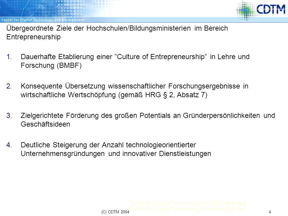 Center for Digital Technology and Management 4(C) CDTM 2004 Übergeordnete Ziele der Hochschulen/Bildungsministerien im Bereich Entrepreneurship 1.Daue